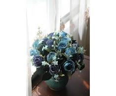 Sin Marca Ramo Flor Rosa Artificial Multicolor de Seda Poner Mixto Decoraci¨®n de Casa, Hotel, Boda(3 ramos de 5 rosas azules)