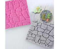 KXCLL 2 Piezas Línea de Pared de Piedra de adoquín Formas de Grano Impresión de Silicona Estera de Textura Molde de azúcar Fondant Decoración de Pasteles Artesanía