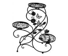 HLC Stand para macetas/Estanteria para macetas en Diseño de S de Metal/Escalera para macetas de Plantas y Flores con 3 Niveles/Color Negro