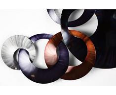 Kunstloft® Extravagante Escultura de Pared de Metal 'Unidos para Siempre' 125x65x8cm | Decoración XXL Metal Arte | Abstracto círculo decoración Naranja | Cuadro Hecho a Mano Imagen Mural