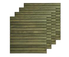 Loseta rígida en madera de Pino Melix con tratamiento Lasur Verde (Riesgo III), lamas lijadas y cepilladas - Suelo exterior (Pack de 4 unidades)
