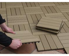 EVERFLOOR WPC 4600-1000-005 - Baldosas de patio perfil macizo color teca, 10 piezas, 30 x 30 cm (aprox. 0,9m2)