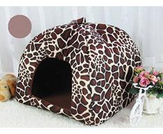 Demarkt 5 Tamaños Suave Caliente Bonito Precioso Mascota Perro Gato Fresa Cama Casa Cálido (leopardo)
