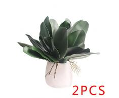 Regard L Hoja de la Planta 2pcs Artificial de la orquídea Phalaenopsis en Maceta Hojas de Ministerio del Interior Decorativo