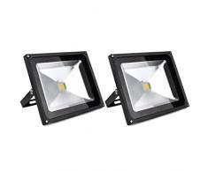 2 PCS Foco Proyector 50W, blanco cálido - Foco de exterior LED. Proyector de Alta potencia (50W) y gran resistencia (IP65)