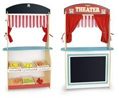 Juguete 3 en 1! Teatro y mercado + caja registradora con la calculadora y el escáner de código de barras +alimentos de madera, teatro de marionetas, Puesto de mercado de juguete, Tienda de juguete de madera maciza