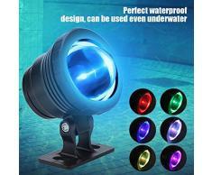 Luz de piscina para estanques bajo el agua, Proyector sumergible LED RGB sumergible al aire libre con control remoto para el tanque de peces de paisaje Estanque Fuente de jardín AC85-265V(Negro)