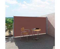 vidaXL Toldo Lateral Retráctil Poste de Acero Marrón 180x300cm Mampara Terraza