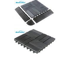 BodenMax Baldosas de pizarra de piedra natural con piso de 30 x 30 cm Baldosas de terraza Baldosa de pizarra de piedra Baldosa de piedra baldosa de antracita Azulejo de clic negro gris (8 piezas)