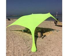 Quitasol Tienda de Playa + Anti-UV A prueba de viento Sun Shelter Pabellón con Sandbag Anclas, postes, bolsa de transporte Sombrilla para verano Beach Camping