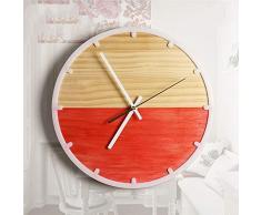 XIXIGZ Relojes De Pared Estilo Minimalista Nórdico Mediterráneo Relojes De Madera Maciza Salón Dormitorio Arte Jardín Personalidad Creativo Mute Reloj De Pared, Rojo
