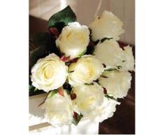 Ramo de rosas decorativas MOLLY con 10 rosas, blanco, 35 cm, Ø 20 cm - Ramillete artificial / Flores sintéticas - artplants
