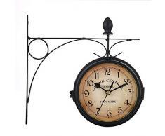 windyday Reloj De Pared Estación Estilo Vintage Doble Esfera Doble Cara Reloj De Pared De Hogar Jardín Interior Estación para Jardín De Interior Y Exterior Cocina Patio Sala De Estar