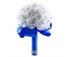 SOLEDI Ramo de Novia Rosas de Cristal Blanco Perla Novia Boda Ramo Flores Artificiales