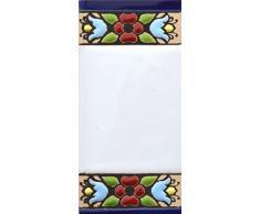 """Letreros con números y letras en azulejo de cerámica policromada, pintados a mano en técnica cuerda seca para placas con nombres, direcciones y señaléctica. Texto personalizable. Diseño FLORES MINI 7,3 cm x 3,5 cm. (ESPACIO """"BLANCO"""")"""