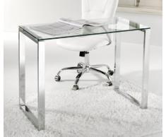 Adec - Mesa de Estudio Benetto, Mesa de Escritorio, Mesa de Despacho Cristal Transparente y Patas Metal Cromado, Medidas: 100 cm (Largo) x 50 cm (Ancho) x 75 cm (Alto)