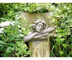 Hembra cabeza Torso busto Estatua resina adorno de jardín Lady Escultura grande 46 cm