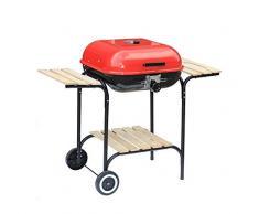 Barbacoa, parilla, asador - de gas, de carbón o leña, diferentes modelos, colores y tamaños. (ROJO CUADRADO, 6,5kg)