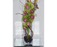 Modern Artificial verde y rosa de la orquídea Cymbidium arreglo Floral