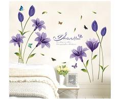 JUNGEN Pegatina de pared Flor de Lirio Extraíble Mural Calcomanías Vinilo Arte Sala Decoración