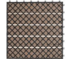 EVERFLOOR WPC marca Gartenfreude (= madera / mezcla de plástico) baldosas de patio perfil macizo marrón, 6 piezas, 40 x 40 cm (aprox. 0,96m2)