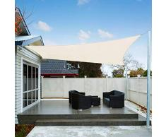 AXT SHADE Toldo Vela de Sombra Cuadrado 3 x 3 m, protección Rayos UV Impermeable para Patio, Exteriores, Jardín, Color Crema