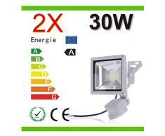 Mcitymall® 2x 30W Blanco Frío Proyector LED Proyector con lámpara Jardín detector de movimiento