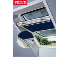 VELUX DOP-Set(ahorro-estor + protección contra el calor-toldo parasol) para GGL GHL GTL GPL GXL S06 + 606 y GGU GHU GTU GPU GXU S06 tela color blanco 1025 - toldo de color negro 5060, rieles laterales/plateados S06 1025S
