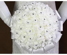 ETGtek(TM) PC 1 Ramos de la boda cristalinos artificiales flores de la espuma artificial boda del rosa ramo de novia de raso blanco