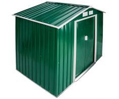 TecTake Cobertizo caseta de jardín metálica de metal invernadero almacén   214x130x185cm   + fundación