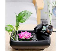 MHMT Zen Interior Adorno De Agua,Suerte Fuente De Escritorio,pequeño Relajación Fuente De Agua con Sonido Relajante,Oficina Y Decoración del Hogar Regalo Negro A 11.2pulgada