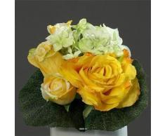 Artificiales - Ramo amarillo Varie de rosas y peonías con hojas TOP H 25 cm - choisissez votre, colores: amarillo Tendre