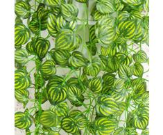 Sonline Nuevo Decoracion del jardin hogar Planta falsa verde hiedra hojas de vid follaje Flores artificiales