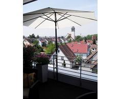 2 x acero inoxidable - Soporte de balcón para sombrilla de hasta 25 cm de diámetro 50 mm - para al aire libre o en interiores con 11 + fijación 6 cm distancia soporte para paraguas - Holly - patentado para fijación de elementos