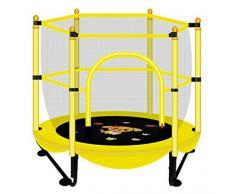 LKFSNGB El Mini trampolín para niños, el trampolín del jardín con Red de Seguridad - patrón de Dibujos Animados, Telas para Saltar, trampolín de Juguete pequeño para Interiores y Exteriores de 150 cm