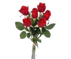 Artificiales - De ramo de rosas Gena - rojas con hojas H 37 cm - choisissez votre, colores: rojo