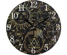 Zseeda Reloj de Pared Sol Luna Ouroboros y Piedra filosófica con Otro alch Silencioso Operado Redondo Fácil de Leer Hogar Oficina Reloj Escolar