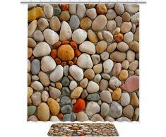 Bennigiry - Juego de cortinas de ducha brillantes con piedra de adoquín y accesorios de baño (182 x 183 cm), poliéster y alfombrilla de baño con 12 ganchos