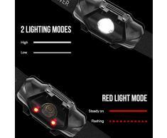 LE Linterna Frontal LED Potente Super Ligero, 4 Modos de luz 100lm, Resistente al Agua, Linterna de Cabeza para Acampada, Ciclismo, Correr, Caminata, Casco, etc.