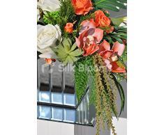 Reloj de melocotón rosa Artificial, orquídea Cymbidium y arreglo Floral de suculentas