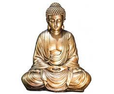ZenLight - Estatua de Buda Dorada, Resina, 16 x 10 x 20 cm