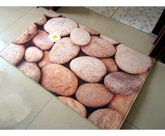 PEIWENIN-Cuarto de baño 3D Pequeña alfombra de piedra Alfombra de la puerta Cocina de baño Alfombra antideslizante Dormitorio Mesa de café Alfombra, 70 * 140cm, adoquín