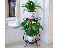 MAJOZ 2 Niveles Maceteros Porta Macetas Metal Decorativos/Soporte de Pie/Estante Vintage para Macetas Pedestales Flores Plantas, para Jardín Dormitorio Sala de Estar Oficina Balcón Interior (Negro)