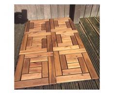 6 baldosas de madera de Acacia para terraza, con sistema de enganche – baldosa de 10 listones, Para Patio, jardín, balcón, jacuzzi, baldosa cuadrada de 30 x 30 cm