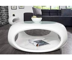 DuNord Design - Mesa sofá Mesa Torsion Blanco Brillante Fibra de Vidrio Retro diseño Lounge