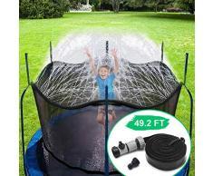 Aspersor de Agua para trampolín para niños, Parque acuático con trampolín al Aire Libre (49.2 FT)
