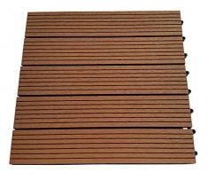 EVERFLOOR WPC marca Gartenfreude (= madera / mezcla de plástico) baldosas de patio perfil macizo marrón claro, 6 piezas, 40 x 40 cm (aprox. 0,96m2)