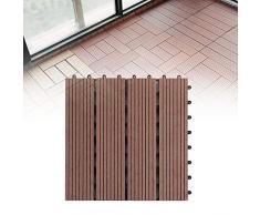 LYXMY Azulejos de Cubierta, Azulejos de Cubierta de Madera Dura Click-Deck 30 × 30 cm, Adoquines anticorrosivos para Patio, balcón, terraza en la azotea, bañera de hidromasaje