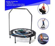 MaXimus Pro Mini Trampolin Fitness Plegable para Adultos con Mango. Dos DVD de entrenamiento