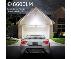 Olafus 2 Pack 60W Foco LED con Sensor de Movimiento, 6600LM Super Brillo 5000K Blanco Frío, Proyector LED Sensor IP66 Impermeable, Luces de Seguridad Focos LED Exterior Jardín Garaje Patio Camino